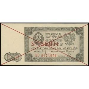 2 złote 1.07.1948, seria BU, numeracja 8671956, znak wo...