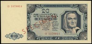 20 złotych 1.07.1948, seria CI, numeracja 5578014, obus...