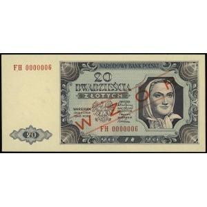 20 złotych 1.07.1948, seria FH, numeracja 0000006, obus...