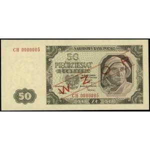 50 złotych 1.07.1948, seria CH, numeracja 0000005, po o...