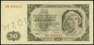 50 złotych 1.07.1948, seria DM, numeracja 0000011, bez ...