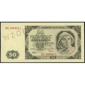 50 złotych 1.07.1948, seria DS, numeracja 0000011, bez ...