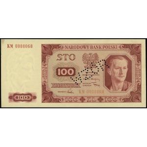 100 złotych 1.07.1948, seria KM, numeracja 0000068, bez...