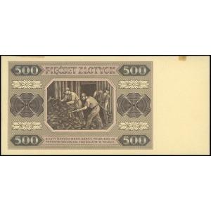 próbny druk w kolorze brązowo-różowym banknotu 500 złot...