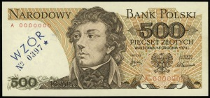 500 złotych 16.12.1974, seria A, numeracja 0000000, fio...