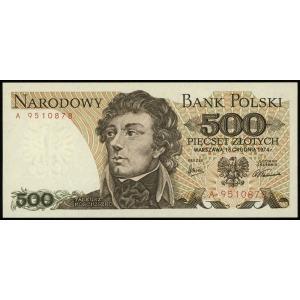 500 złotych 16.12.1974, seria A, numeracja 9510878, Luc...