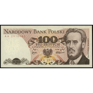 100 złotych 15.01.1975, seria AA, numeracja 2910662, Lu...