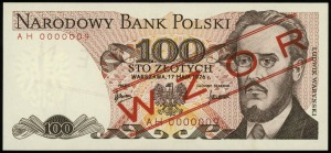 100 złotych 17.05.1976, seria AH, numeracja 0000009, cz...