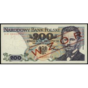 200 złotych 25.05.1976, seria AH, numeracja 0000044, cz...