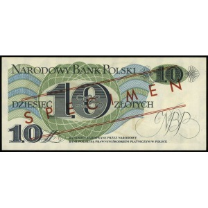 10 złotych 1.06.1982, seria A, numeracja 0000000, czerw...