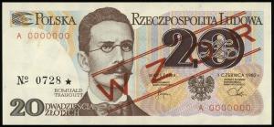 20 złotych 1.06.1982, seria A, numeracja 0000000, czerw...