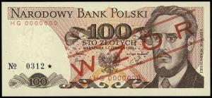 100 złotych 1.06.1982, seria HG, numeracja 0000000, cze...