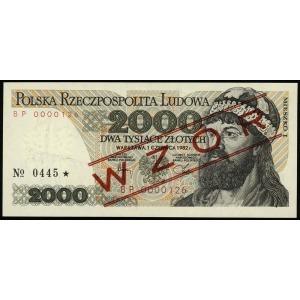 2.000 złotych 1.06.1982, seria BP, numeracja 0000000, c...