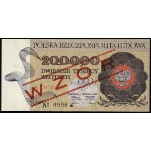 200.000 złotych 1.12.1989, seria A, numeracja 0000000, ...