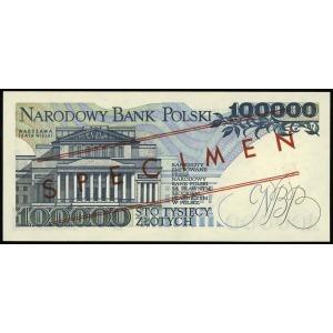 100.000 złotych 1.02.1990, seria A, numeracja 0000000, ...