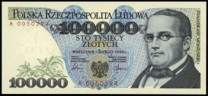 100.000 złotych 1.02.1990, seria A, numeracja 0050224, ...