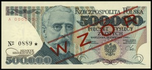 500.000 złotych 20.04.1990, seria A, numeracja 0000000,...