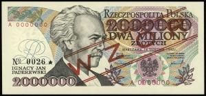 2.000.000 złotych 14.08.1992, seria A, numeracja 000000...