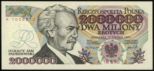 2.000.000 złotych 14.08.1992, seria A, numeracja 105851...
