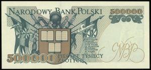 500.000 złotych 16.11.1993, seria Z, numeracja 0380077,...