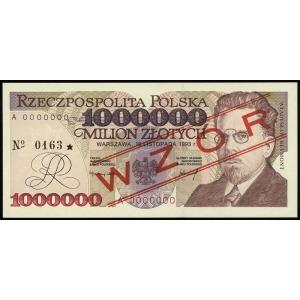 1.000.000 złotych 16.11.1993, seria A, numeracja 000000...