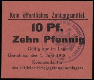 zestaw bonów 10 fenigów, 1, 2 i 5 marek 1.06.1918 oraz ...
