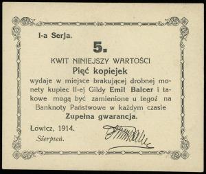 Łowicz, Emil Balcer - kupiec II-ej Gildy, 5, 10, 20 i 5...