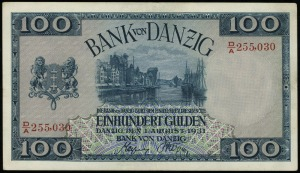 100 guldenów 1.08.1931, seria D/A numeracja 255030, Mił...