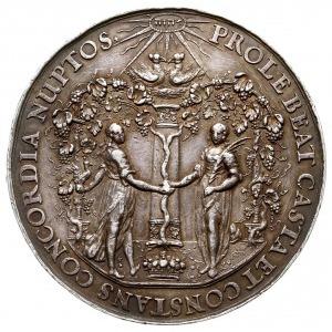 medal zaślubinowy autorstwa Jana Höhna, Aw: Mężczyzna i...