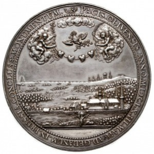 medal autorstwa J. Höhna sen. na Pokój w Oliwie 1660 r,...