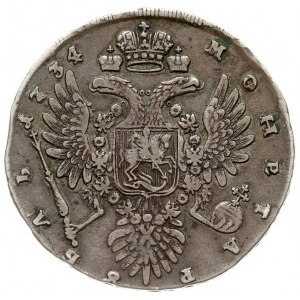 rubel 1734, Kadashevsky Dvor (Moskwa), popiersie typu h...