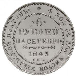 6 rubli 1845, Petersburg, Aw: Orzeł Carski, Rw: Napis p...
