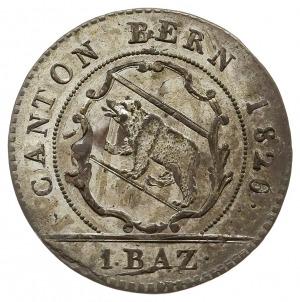2 x 1 batzen 1826, dwie odmiany napisowe nominału: 1 BA...