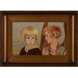 Hofman Wlastimil (1881-1970) Portret dziewczynki z aniołem