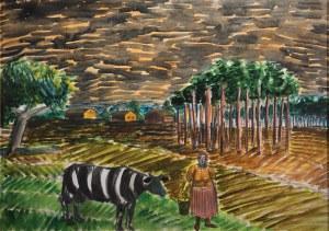 """Jarosław Modzelewski (1955), """"Krowa, kobieta, Mazowsze"""", Z CYKLU: POWÓDŹ, 1997 r."""