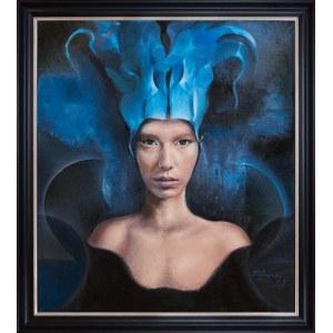 Jacek Tyczyński (1959), Kobieta w niebieskiej czapce, 2018