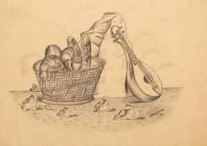 Marek WŁODARSKI (1898 - 1960), Martwa natura z koszem pieczywa, 1930