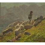 Zefiryn Ćwikliński (1871 Lwów - 1930 Zakopane), Góral i owce na hali, 1928 r.
