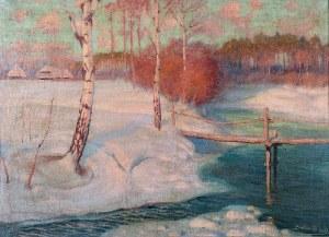 Roman BRATKOWSKI (1869-1954), Pejzaż zimowy z rzeką, 1928
