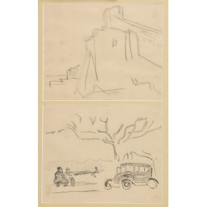Tadeusz CYBULSKI (1878-1954), Para rysunków we wspólnej oprawie: Szkic budynku i Pejzaż uliczny, ok. 1923