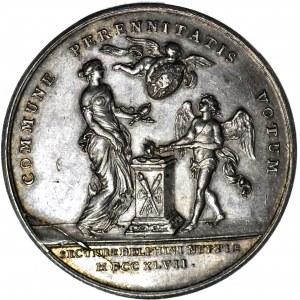 RRR-, August II Mocny, Medal 1747, 41,5 mm, srebro, zaślubinowy Marii Józefy, nieznana hybryda