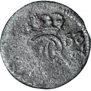 RR-, August III, Szeląg 1763 Elbląg, jednostronny, rewers negatywowy, nienotowany