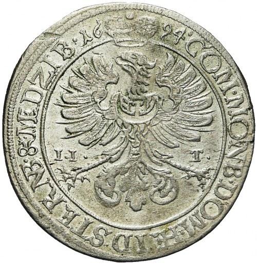 Śląsk, Księstwo Oleśnickie, Sylwiusz Fryderyk, 15 krajcarów 1694, Oleśnica, piękne