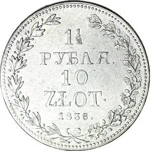 Zabór Rosyjski, 10 złotych = 1 1/2 rubla 1836, Warszawa, wąska 6 w dacie, PIĘKNE