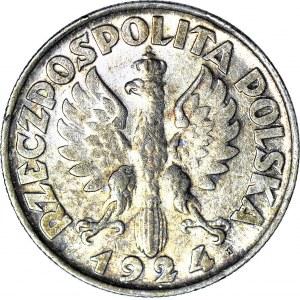 2 złote 1924 Żniwiarka, literka H (Birmingham), cienka szyja, ok. mennicza