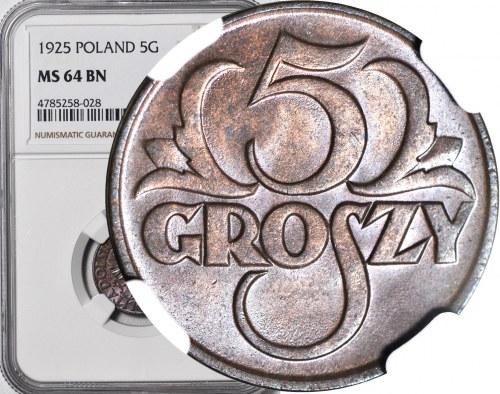 5 groszy 1925, mennicze, kolor BN