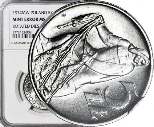 R-, 5 złotych 1974 Rybak, DESTRUKT, SKRĘTKA 80 stopni, mennicze, rzadkie