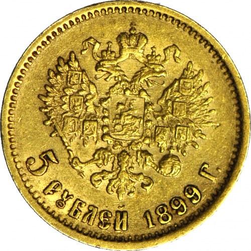 Rosja, Mikołaj II, 5 rubli 1899, Petersburg
