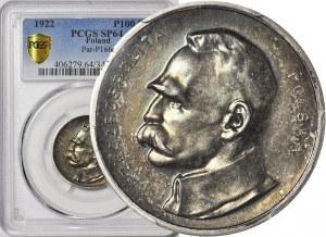 RR-, PRÓBA, 100 marek Piłsudski, 1922, srebro, piękna