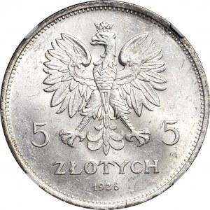 5 złotych 1928 Nike, ze znakiem, WYŚMIENITE